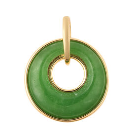 9.50 Ct Green Jade Disc Circle Pendant in Gold Plated Sterling Silver
