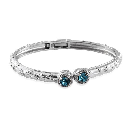 Set of 3-  J Francis Crystal from SWAROVSKI - AB Colour Crystal (Rnd), Indicolite Colour Crystal and Rose Colour Crystal Bangle (Size 7.5) in Stainless Steel