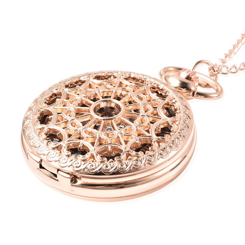 GENOA Automatic Mechanical Hollow-Out Pattern Pocket Watch with Chain in Rose Gold Tone