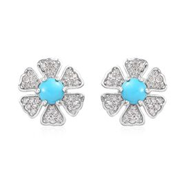 1.50 Ct Arizona Sleeping Beauty Turquoise and Zircon Floral Stud Earrings in Platinum Plated Silver