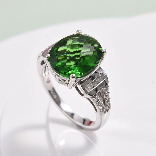 Helenite and Natural Cambodian Zircon Ring in Platinum Overlay Sterling Silver 4.23 Ct.