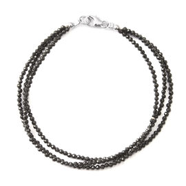 Mega Christmas Deal- Boi Ploi Black Spinel (Rnd) Beads Bracelet (Size 7.5) in Rhodium Overlay Sterling Silver  22.000 Ct.