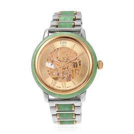 EON 1962 Green Hand Carved Jade Japanese Skeleton Movement Water Resistant Watch  82.65 Ct