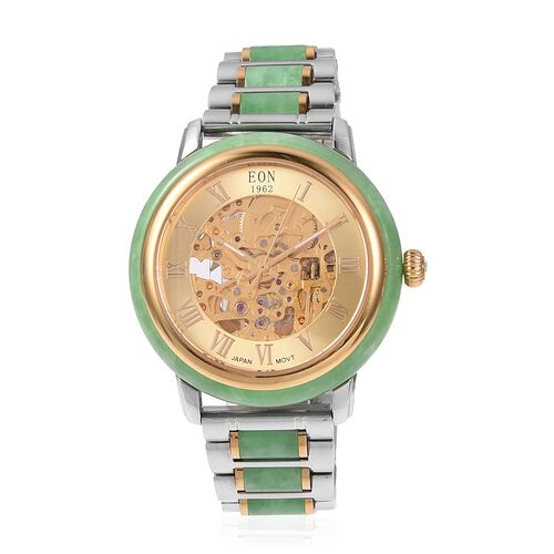 FATHER`S DAY DEAL - EON 1962 Green Hand Carved Jade Japanese Skeleton Movement Water Resistant Watch