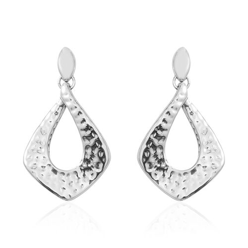 Close Out Deal- Rhodium Overlay Sterling Silver Dangling Earrings (with Push Back) Silver wt 7.87 Gm