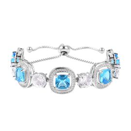 Simulated Electric Swiss Blue Topaz (Cush), Simulated Diamond Bolo Bracelet (Size 6.5 to 9.5 inch Ad