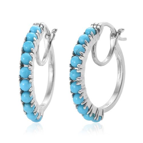 Arizona Sleeping Beauty Turquoise (Rnd) Hoop Earrings (with Clasp Lock) in Platinum Overlay Sterling