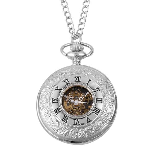 GENOA Automatic Skeleton Water Resistant Ornate Pattern Pocket Watch with Chain in Silver Tone