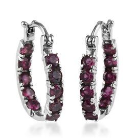 1.75 Ct Rhodolite Garnet Hoop Earrings in Stainless Steel