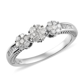 0.50 Carat Diamond Triple Floral Pressure Set Ring in 9K White Gold SGL Certified I3 GH