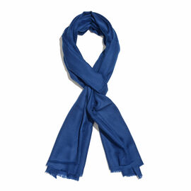 100% Cashmere Wool French Blue Colour Shawl with Fringes (Size 190x70Cm)
