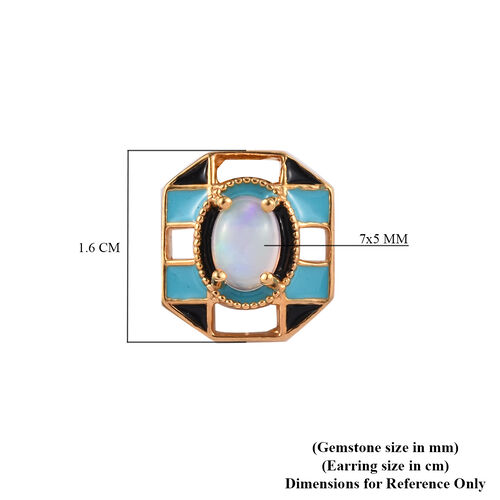 GP Ethiopian Welo Opal and Blue Sapphire Enamelled Stud Earrings (with Push Back) in 14K Gold Overlay Sterling Silver 1.05 Ct.