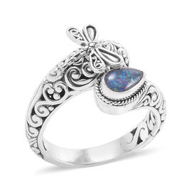 Bali Legacy Collection Australian Boulder Opal (Pear) Filigree Ring in Sterling Silver, Silver wt 7.82 Gms.