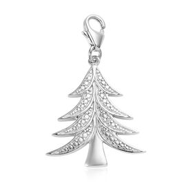 Diamond (Rnd) Christmas Tree Charm in Platinum Overlay Sterling Silver