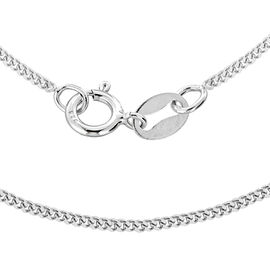 Rhodium Plated Sterling Silver Curb Chain (Size 18)