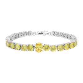 Simulated Yellow Sapphire Tennis Bracelet in Silver Plated 7 with 1 inch Extender