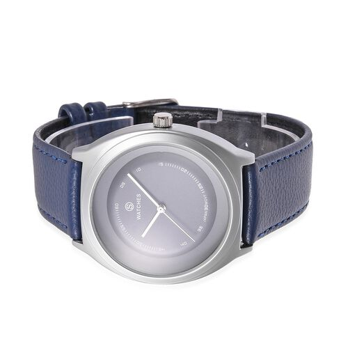 STRADA Japanese Movement Silver Grey Colour Plated Water Resistant Watch with Navy Blue Colour Literal and Strap.