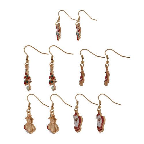 5 Pcs Set Multi Colour Austrian Crystal Hook Earrings