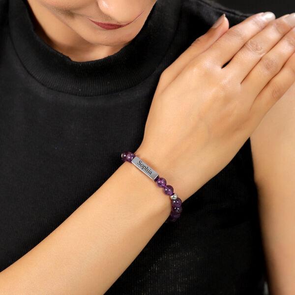 Personalised Engravable Bar Amethyst Beads Bracelet Size 7-7.5Inch