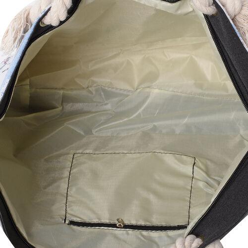 White Colour with Multi Colour Snowscape Pattern Tote Bag with Handle Drop (Size 45x35x36x11 Cm)