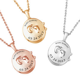Personalised Engraved Name and Date Baby Feet Locket