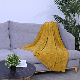 Close Out Deal- Chenille Wrinkle and Stain Resistance Throw with Border - Yellow