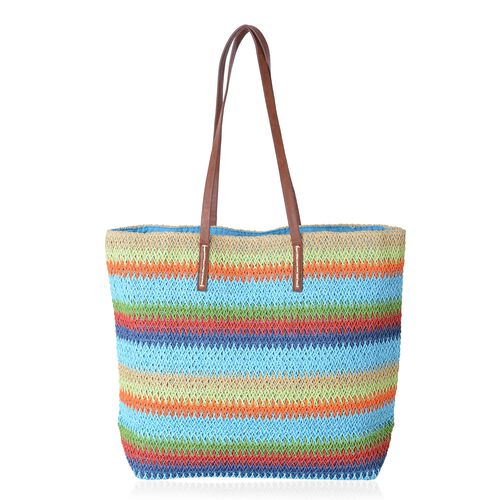 St. Tropez Collection- Turquoise and Rainbow Colour Stripe Pattern Straw Tote Beach Bag (Size 47x37x