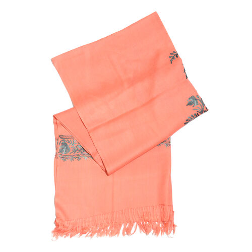 100% Merino Wool Fuzzy Peach and Grey Colour Embroidered Scarf with Tassels (Size 190X70 Cm)