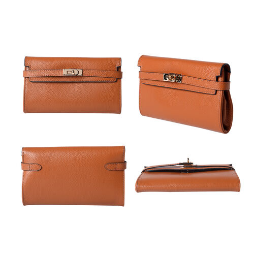 Super Soft  Genuine Leather Clutch RFID Wallet (Size 19x2x10cm)  - Orange
