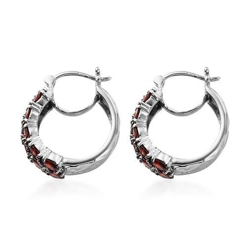 Simulated Garnet Hoop Earrings (with Clasp) in Stainless Steel