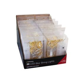 20 Micro LED Metal Star String Light -  (Size 40cm) - Warm White (2xAA Battery not Included)