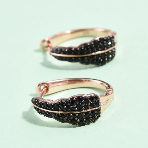 Boi Ploi Black Spinel (Rnd) Hoop Errings (with Clasp) in Rose Gold Overlay Sterling Silver 1.000 Ct, Silver wt 5.42 Gms.