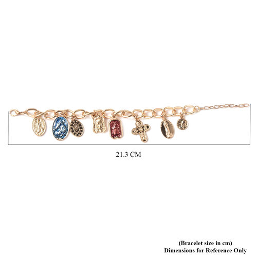 Charms De Memoire - Multi-Charm Enamelled Bracelet (Size 7.5 with 1.5 inch Extender) in Gold Tone