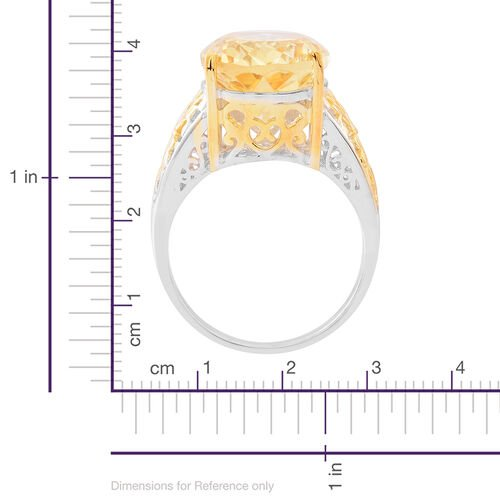 Rare Uruguay Citrine (Ovl) Ring in Yellow Gold and Rhodium Plated Sterling Silver 10.000 Ct. Silver wt 5.00 Gms.