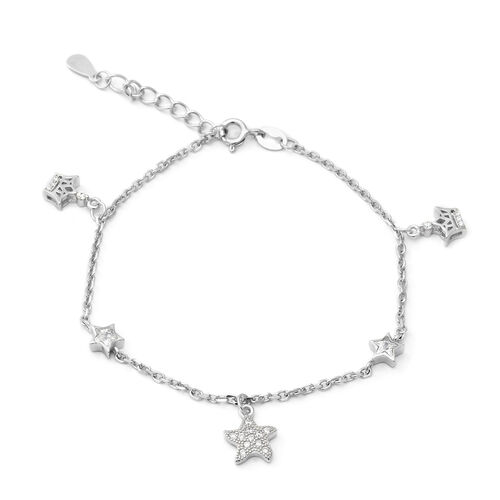 ELANZA Simulated Diamond (Rnd) Adjustable Charm Bracelet (Size 7 with 1 inch Extender) in Rhodium Ov