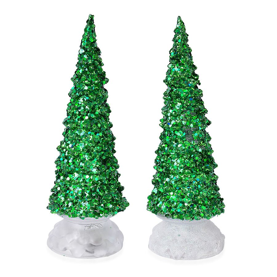 Set of 2 - Sparkle Green Christmas Tree with Colour Changing LED ...