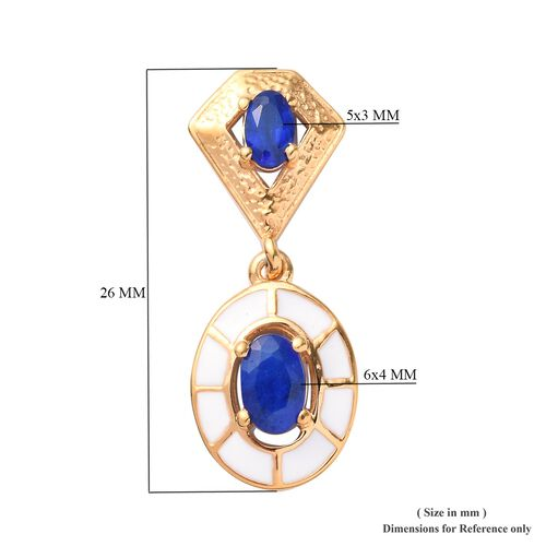 Tanzanian Blue Spinel Enamelled Drop Earrings (with Push Back) in 14K Gold Overlay Sterling Silver 1.50 Ct.