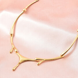 LucyQ Drip Necklace (Size 16 with 4 inch Extender) in Yellow Gold Overlay Sterling Silver