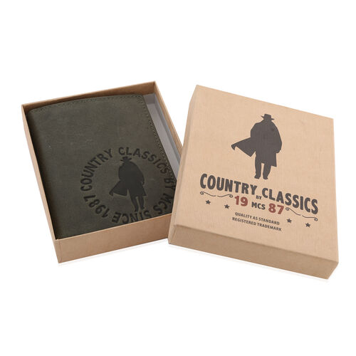 MCS Country Classics 100% Genuine Leather Wallet (Size 9x12 Cm) - Dark Green