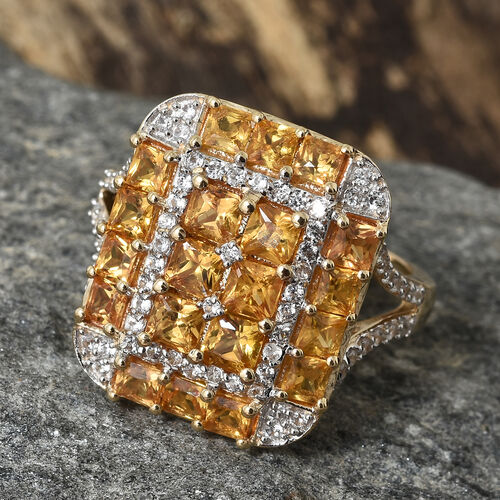 Cocktail Collection - 9K Yellow Gold AA Chanthaburi Yellow Sapphire (Princess Cut), Natural Cambodian Zircon Ring 3.500 Ct.