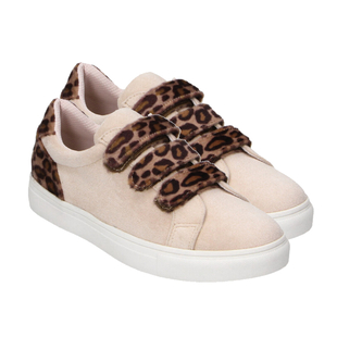 Women Trainer Shoes with Leopard Strap - Pink