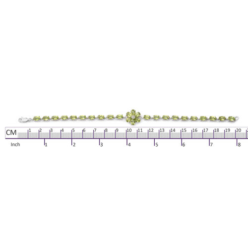 Hebei Peridot (11.58 Ct), Natural Cambodian White Zircon Floral Bracelet (Size 7.75) in Rhodium Overlay Sterling Silver 11.600  Ct, Silver wt 7.00 Gms.