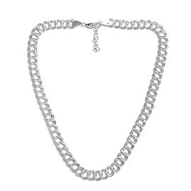 JCK Vegas Collection- Sterling Silver Double Link Adjustable Necklace (Size 20 with 2 inch Extender)