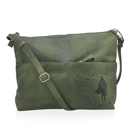 MCS Country Classics: 100% Genuine Leather Handbag - Green