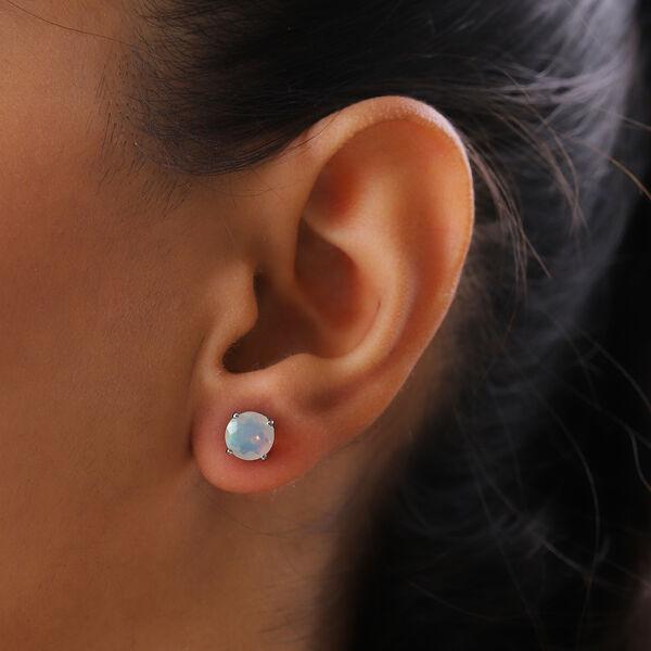 RHAPSODY 950 Platinum AAAA Ethiopian Welo Opal (Rnd) Earrings (with Screw Back) 1.67 Ct.