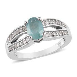Grandidierite (Ovl), Natural Cambodian Zircon Ring in Platinum Overlay Sterling Silver 1.00 Ct.