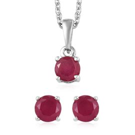 2 Piece Set - African Ruby Pendant With Chain (Size 18) and Stud Earrings (with Push Back) in Platin