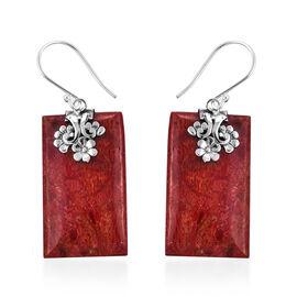 Coral Hook Earrings in Sterling Silver