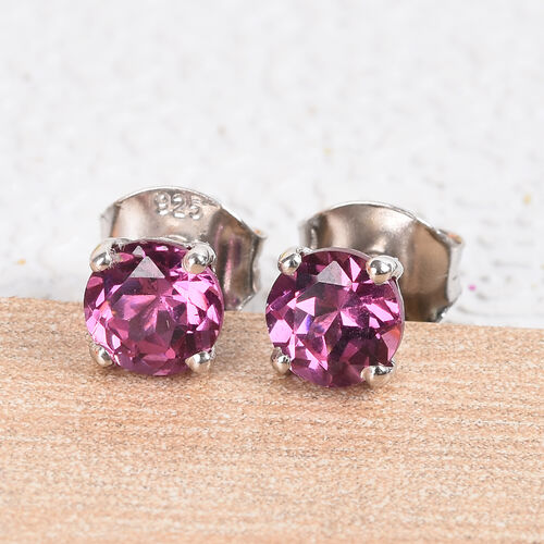 Rose Garnet Stud Earrings (with Push Back) in Platinum Overlay Sterling Silver 0.75 Ct.