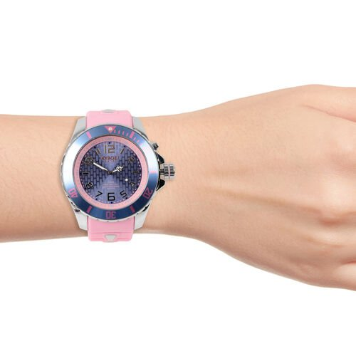 KYBOE Japanese Movement 100M Water Resistant Silver Candy LED Watch in Stainless Steel with Rotating Bezel and Pink Strap - 55MM